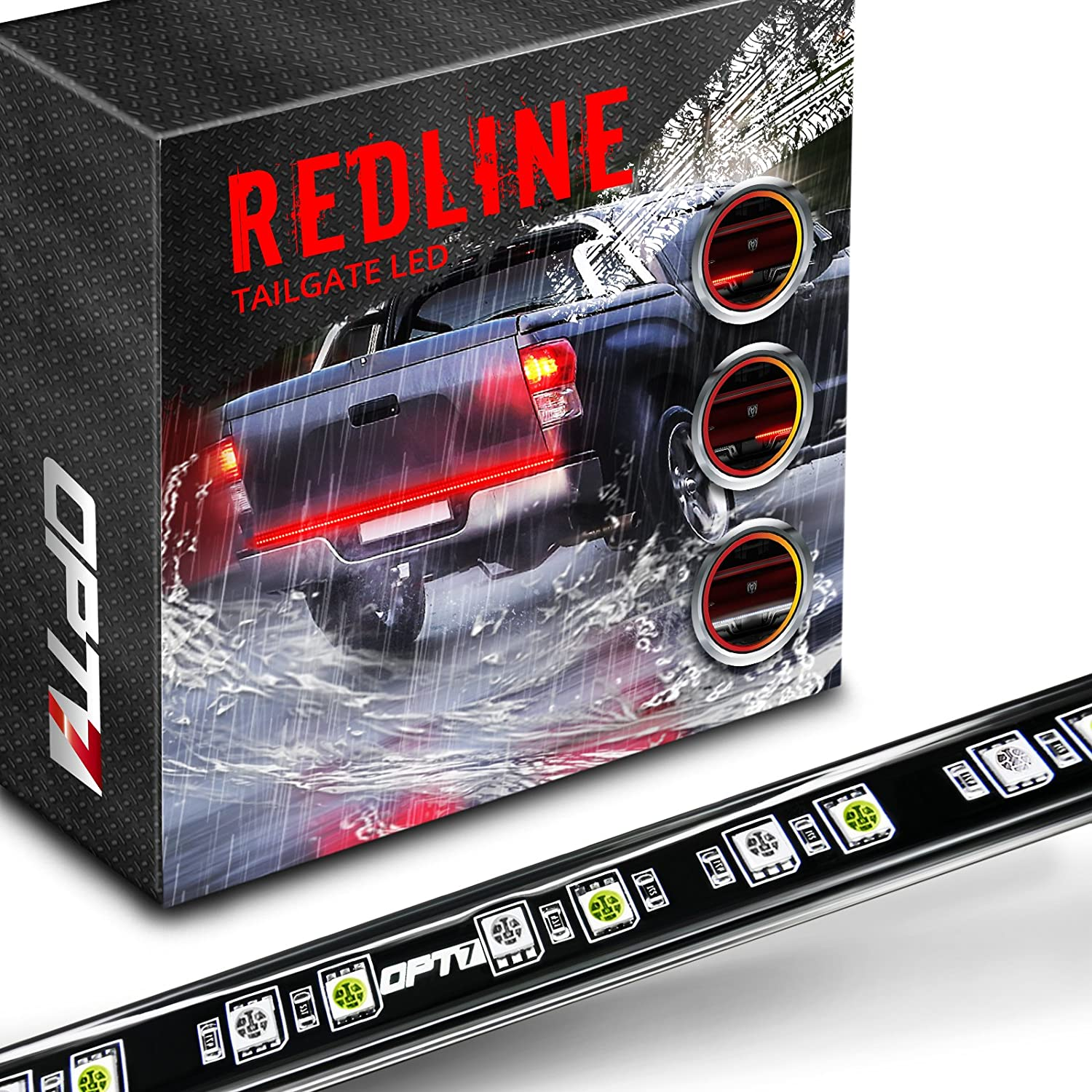 "Amazon.com: OPT7 60"" Redline LED Tailgate Light Bar - TriCore LED -  Weatherproof Rigid Aluminum No-Drill Install - Full Featured Reverse  Running Brake Turn ..."