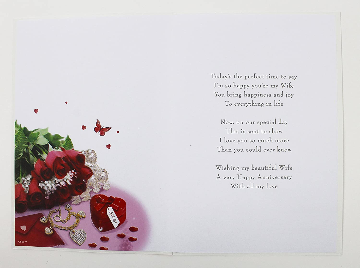 To my wife our wedding anniversary card love for her large quality