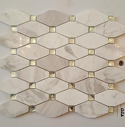 Azulejos de mosaico de vidrio de mármol gris cadena de estilo ...