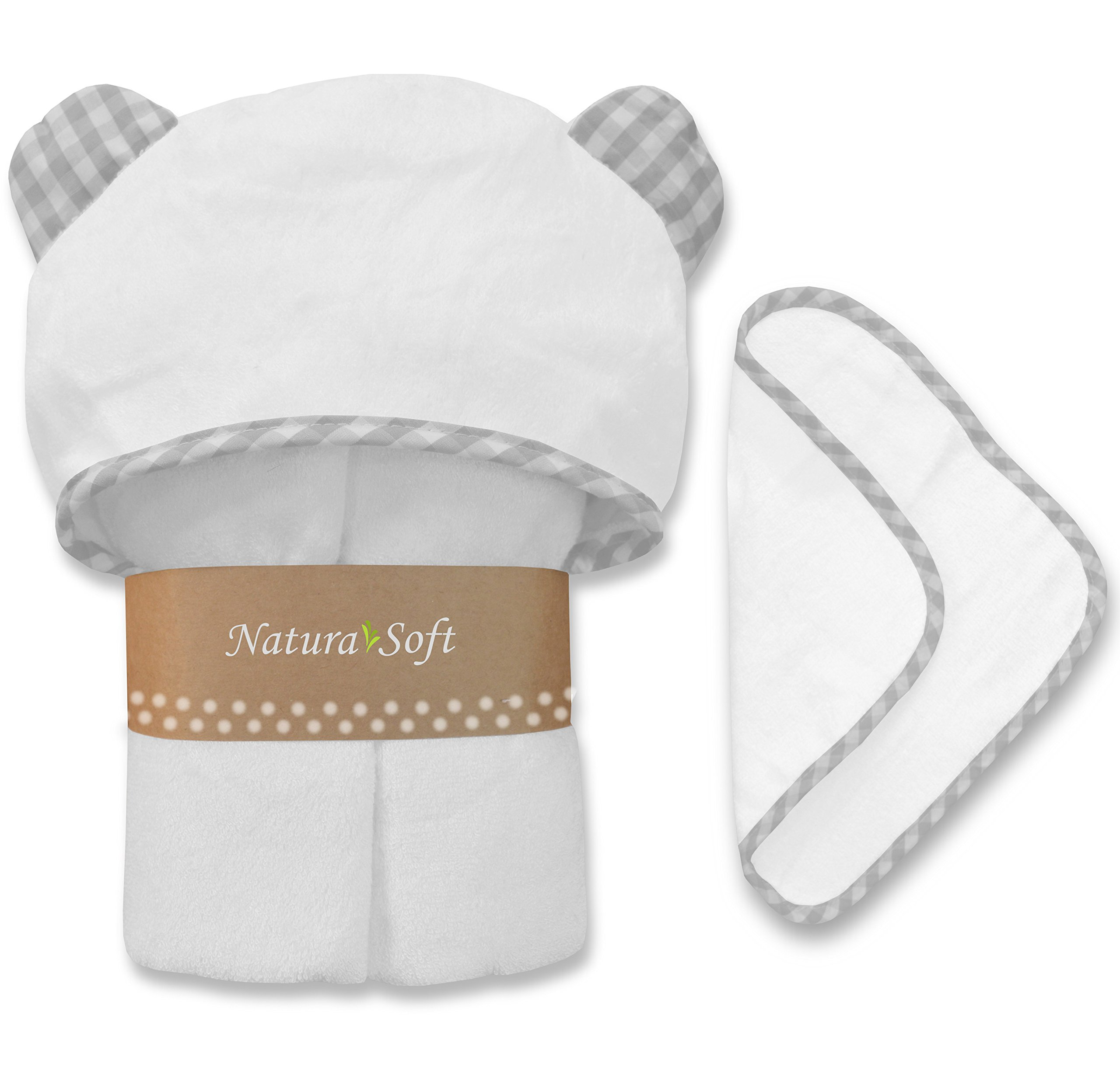 Premium Organic Baby Hooded Towel Set, 100% NaturaSoft Bamboo (Softer Than Cotton), Hypoallergenic Bath Towels with Hood & Washcloth for Newborn Babies, Toddler, Boys & Girls (Grey)