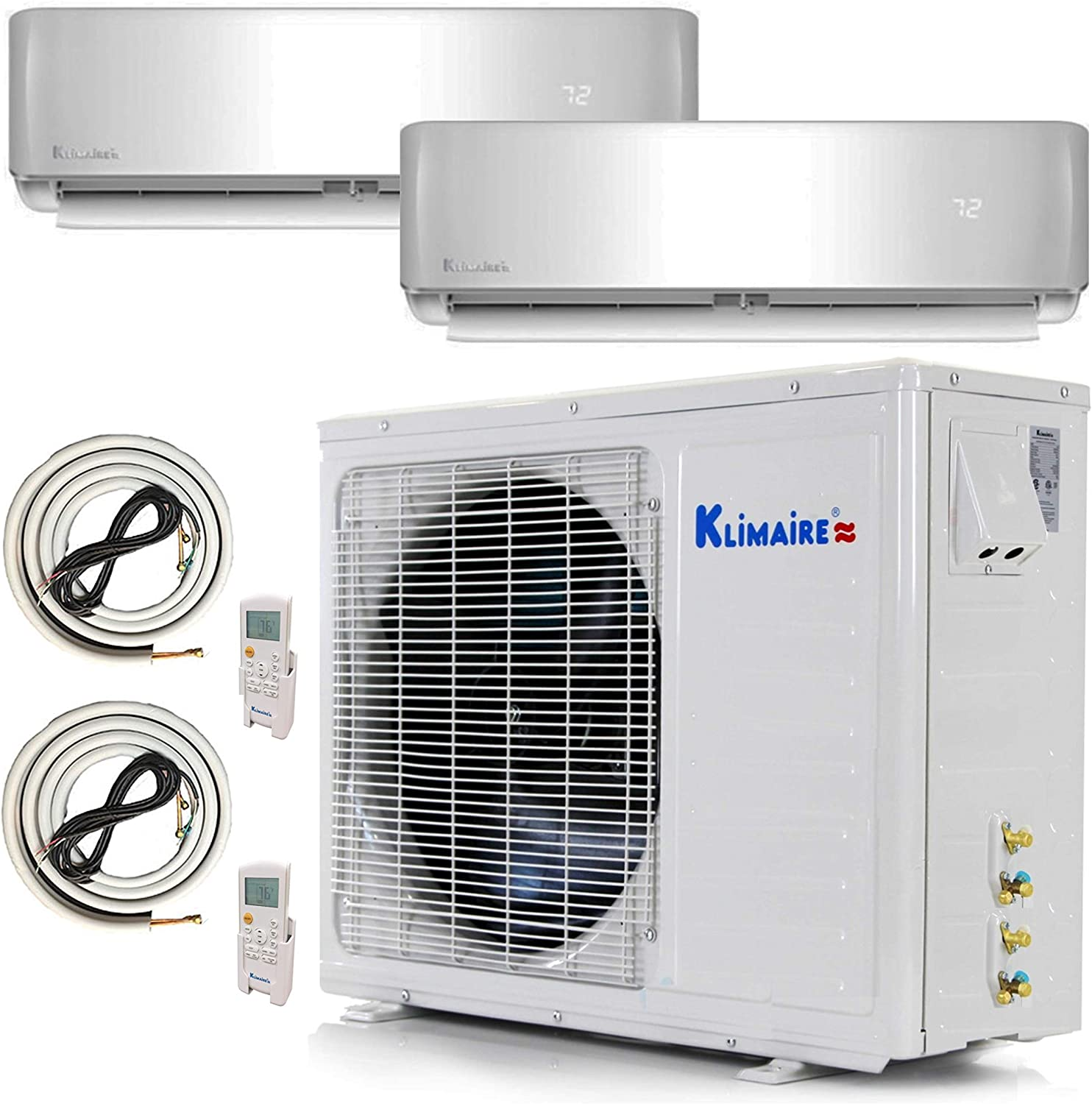 Klimaire Multi Zone Mini Split Ductless Air Conditioner - Dual Zone 9000 + 18000-2 Zone Pre-Charged Inverter Compressor - Includes Two Free 25' Linesets - US Parts & Tech Support