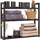 HOMFA Bamboo Bathroom Shelf 3-Tier Multifunctional Adjustable Layer Rack Wall Mounted Utility Storage Organizer Towel Shelves