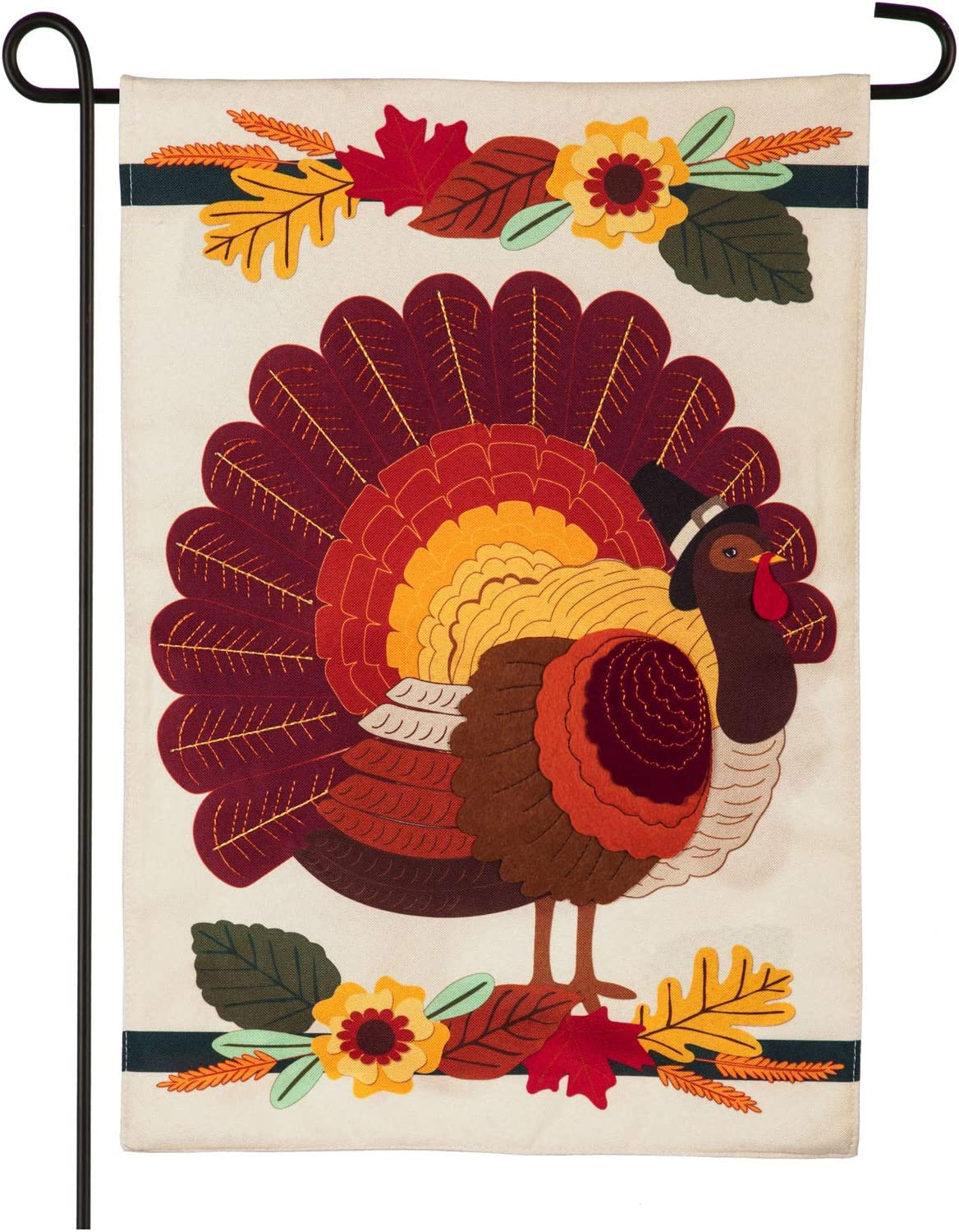 Evergreen Flag Beautiful Autumn Thanksgiving Pilgrim Turkey Linen Garden Flag - 13 x 18 Inches Fade and Weather Resistant Outdoor Decoration for Homes, Yards and Gardens