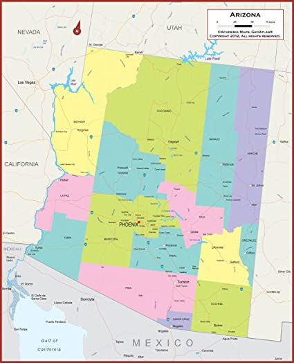 Map Of Arizona Counties And Major Cities.Amazon Com 49 X 60 Giant Arizona State Wall Map Poster With