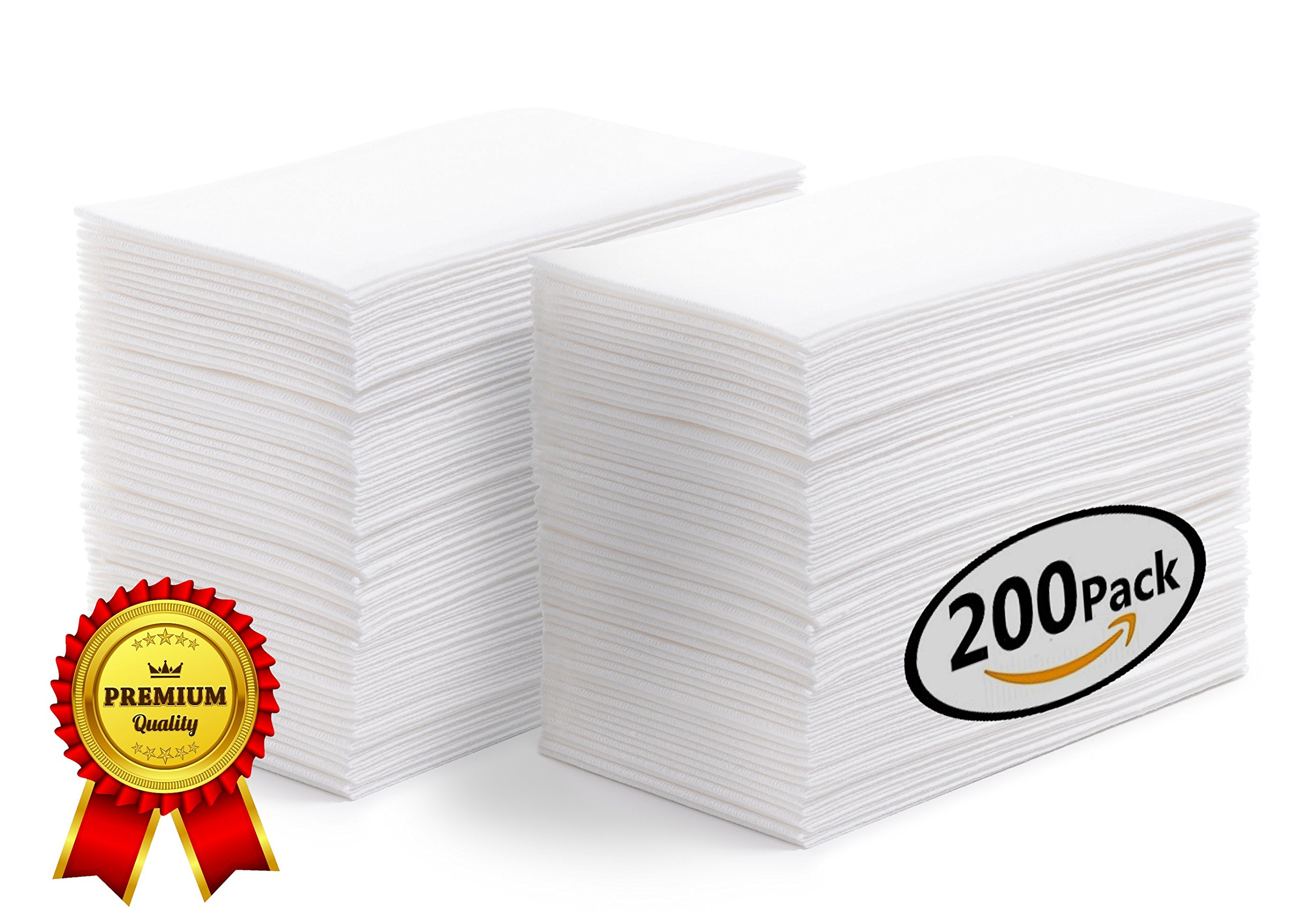 SOFTER Hand Towels | Guest Napkins | Disposable Dinner Napkins | Linen Feel Wedding Guest Towels White - Absorbent - Durable - Paper Hand Towels For Events Bathroom Kitchen Office 200 BULK VALUE PK by Prestee