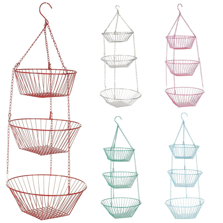 3 Tier Hanging Basket Storage Kitchen Fruit Vegetable Bathroom Shower EGT