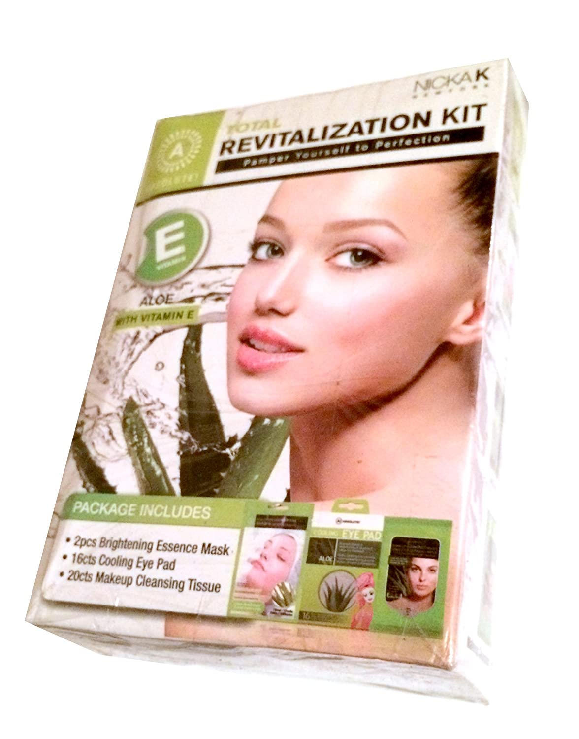 Absolute Total Revitalization Complete At Home Facial Spa Kit with Aloe & Vitamin E - Brightening Masks, Cooling Eye Pads, Cleansing Tissues