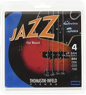 Thomastik Cuerdas para Bajo Eléctrico Jazz Bass Serie niquel entorchado plano juego 4 cuerdas JF344 escala