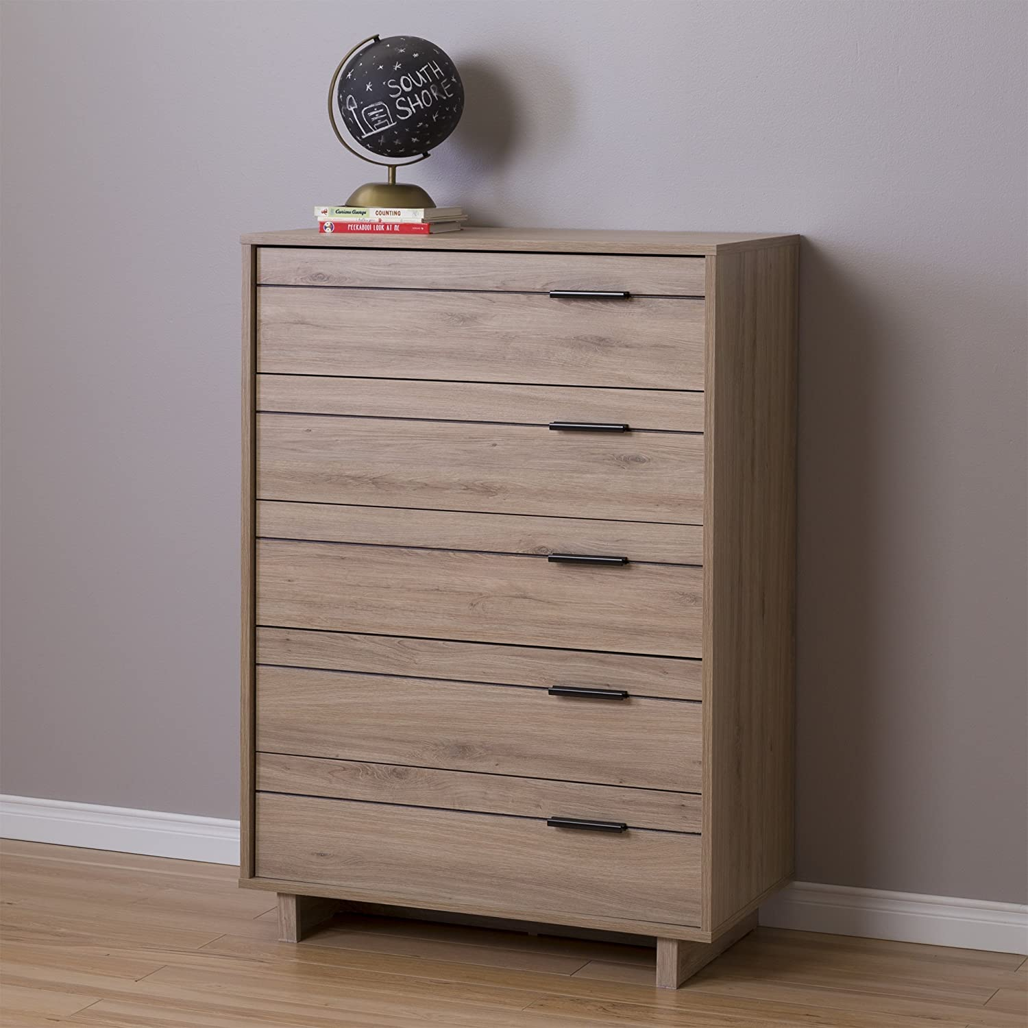 Rustic Oak South Shore Fynn 5-Drawer Chest