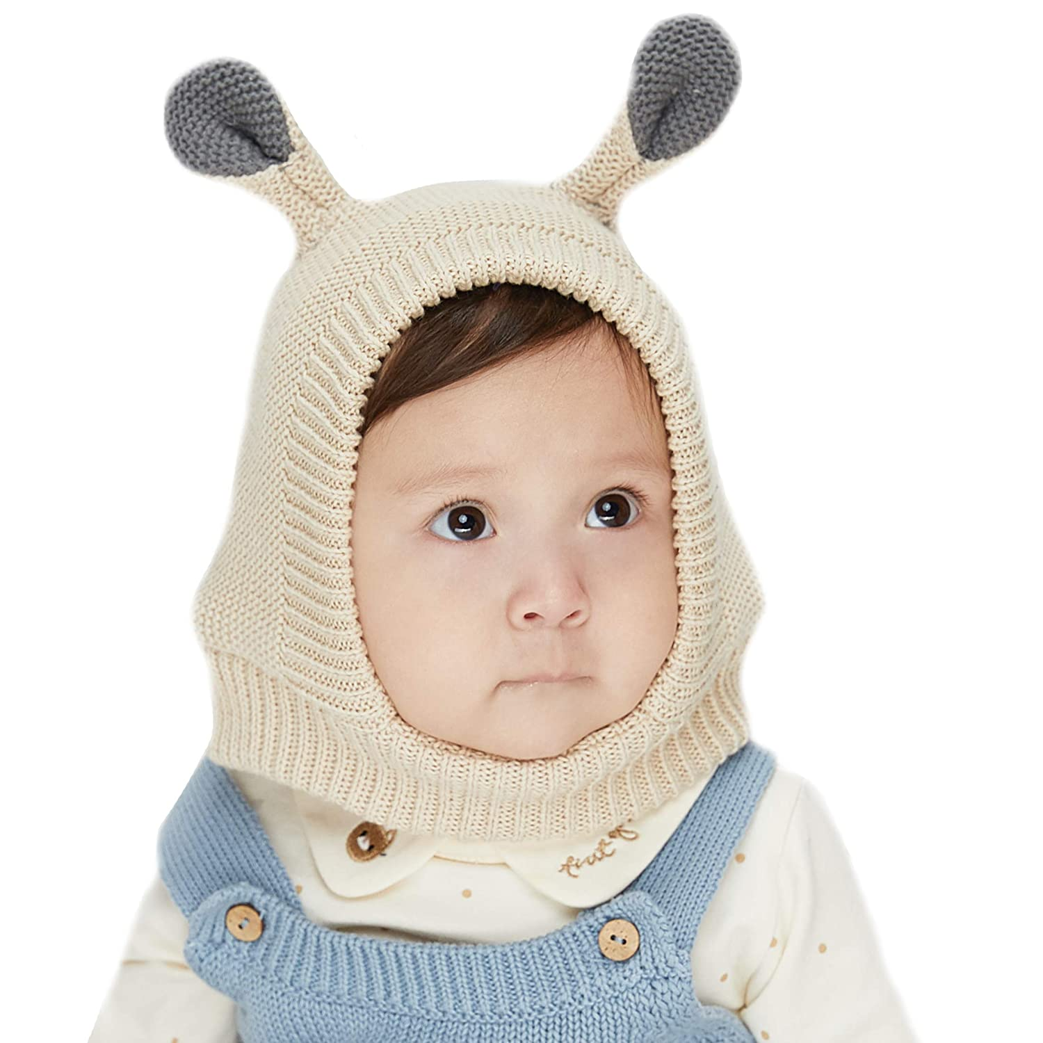 c4cea9f363c Amazon.com  LETTAS Infant Baby Boys Girls Fall Winter Earflap Beanie Soft  Warm Knitted Hat Cute Bear Baby Caps for 0-3 Years  Clothing