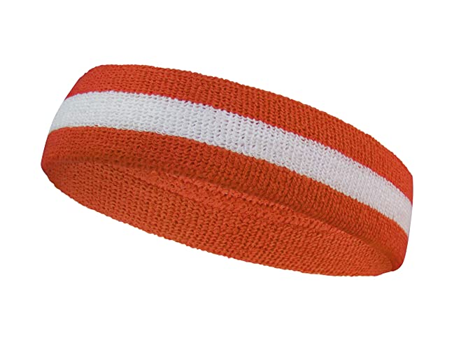 2004e54ecd62 COUVER Premium Quality Halloween Striped Orange Sweat Headband Terry Cloth  - White Dark Orange