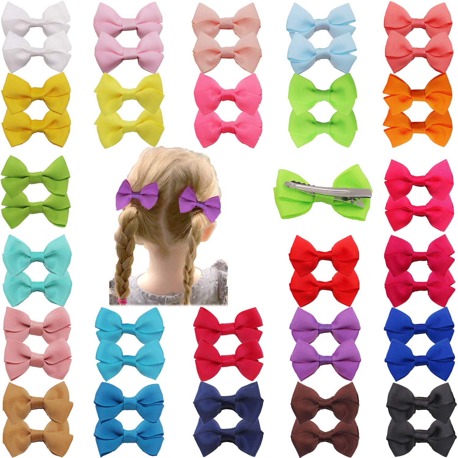 DeD 50 Pieces 2 Inch Mini Hair Bows Clips for Baby Girl Small Hair Bows for Girls Toddlers Kids In Pairs