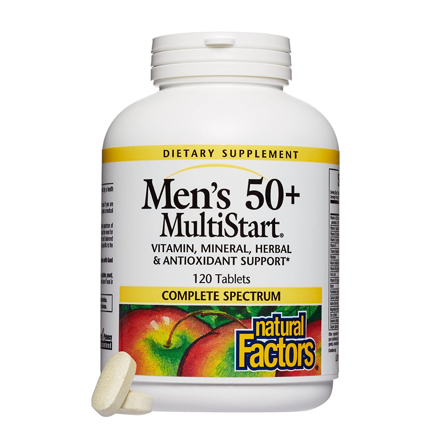 Natural Factors, Men's 50+ MultiStart Daily Multivitamin, Nutritional  Support for Immune and