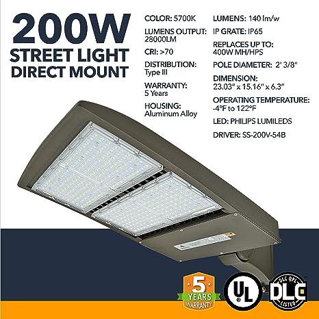 Amazon.com: Iluminación LED DLC para calle, luces LED para ...