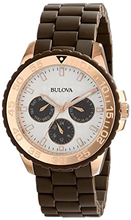 Bulova Womens 98N103 Brown Rubber Wrapped Stainless-Steel Bracelet Watch