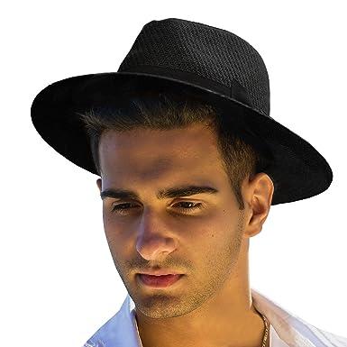 75b91962b Men's Summer Straw Fedora Hat Panama Wide Brim Hat