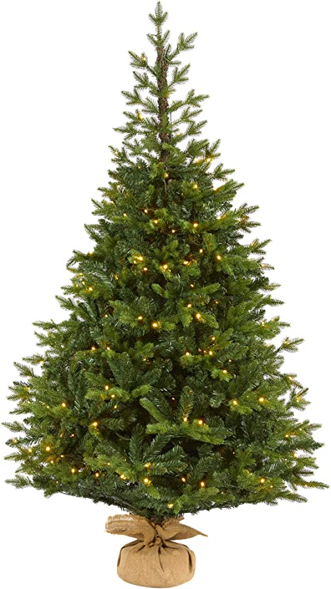 Nearly Natural 6ft Fraser Fir â œnatural Lookâ Artificial Christmas Tree With 300 Clear Led Lights With A Burlap Base Green Home Kitchen