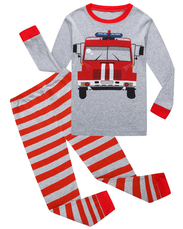Dolphin&Fish Boys Truck Pajamas Little Kids Pjs Sets 100% Cotton Toddler Sleepwears Size6T