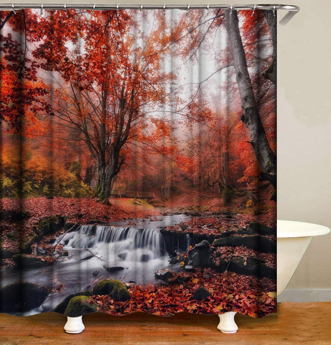 YUYASM Autumn Forest Shower Curtain Decor,Red Maple Tree Fallen Leaves River Nature Scenery Fabric Bathroom Curtains,Waterproof Polyester Bath Curtain Set with Hooks 70x70 Inch