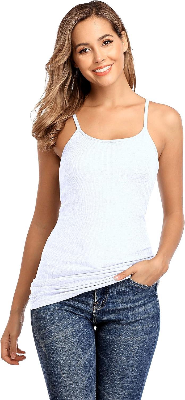 Sociala Women Cotton Tank Top Shelf Bra Camisole Racerback Cami Tanks Long Undershirts
