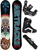 AIRTRACKS SNOWBOARD KOMPLETT SET / GOLDEN ARROW CARBON SNOWBOARD WIDE FLAT ROCKER + BINDING SAVAGE + BOOTS + SB BAG / 150 155 158 / cm