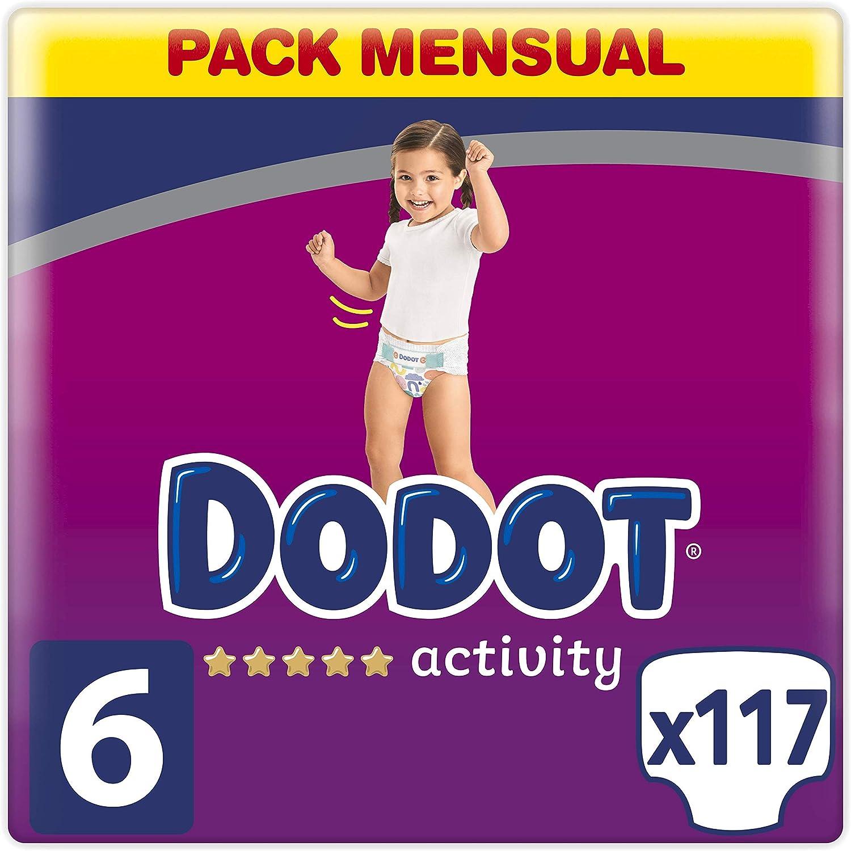 Dodot Activity pañales talla 6, 117 pañales, 13 kg+, pañales con ajuste más resistente