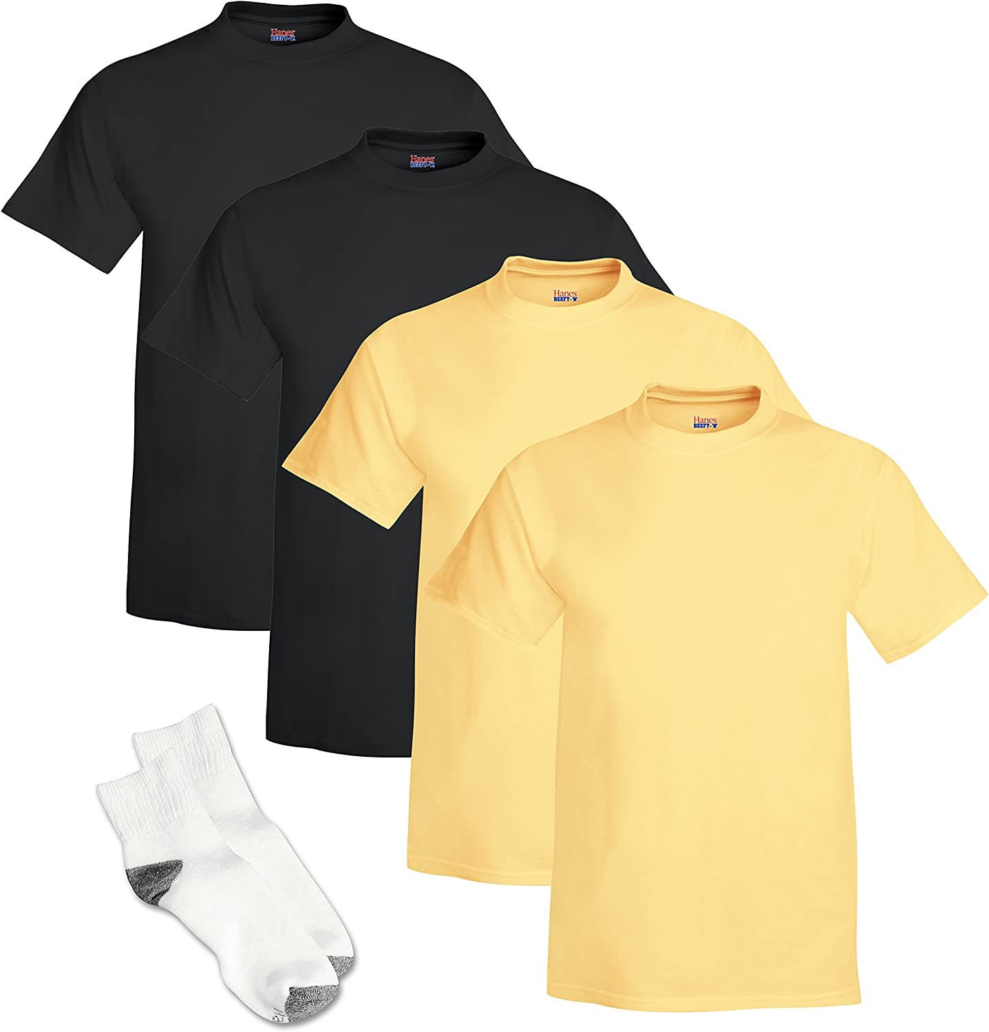 Hanes Men's Beefy-T Short Sleeve T-Shirt (Pack of 4) 2 Black / 2 Daffodil Yellow