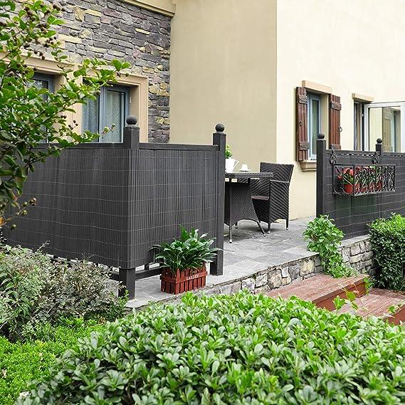 SONGMICS GPF094GV2 - Valla de PVC (persiana de balcón de jardín, persiana de Exterior, Valla con nervaduras Reforzado, PVC, 90 x 400 cm) Gris