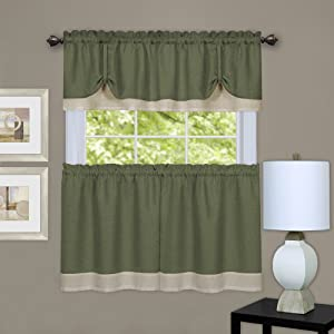 Achim Home Furnishings Darcy Window Curtain Tier and Valance Set, Green & Camel, 58