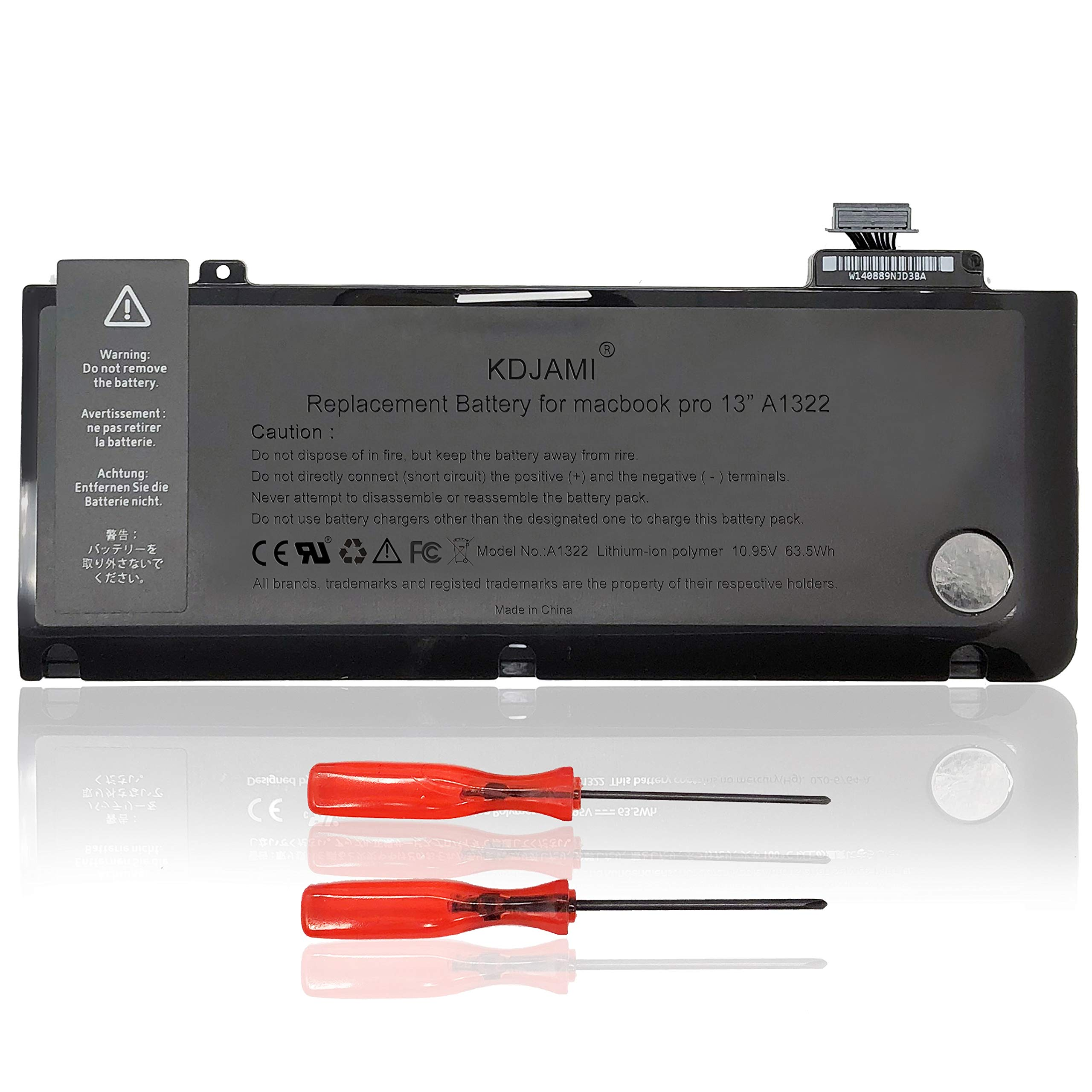 KDJAMI A1322 Battery for MacBook Pro 13-inch A1278(Mid 2009, Mid 2010, Early and Late 2011, Mid 2012 Version) Laptop Batteries [10.95V 63.5Wh 6-Cells]