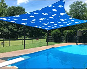 Patio 16' x 16' Standard Size Square Sun Shade Sail Waterproof Cover Blue Sky White Cloud UV Block Durable Awning Canopy Outdoor Garden Backyard Deck