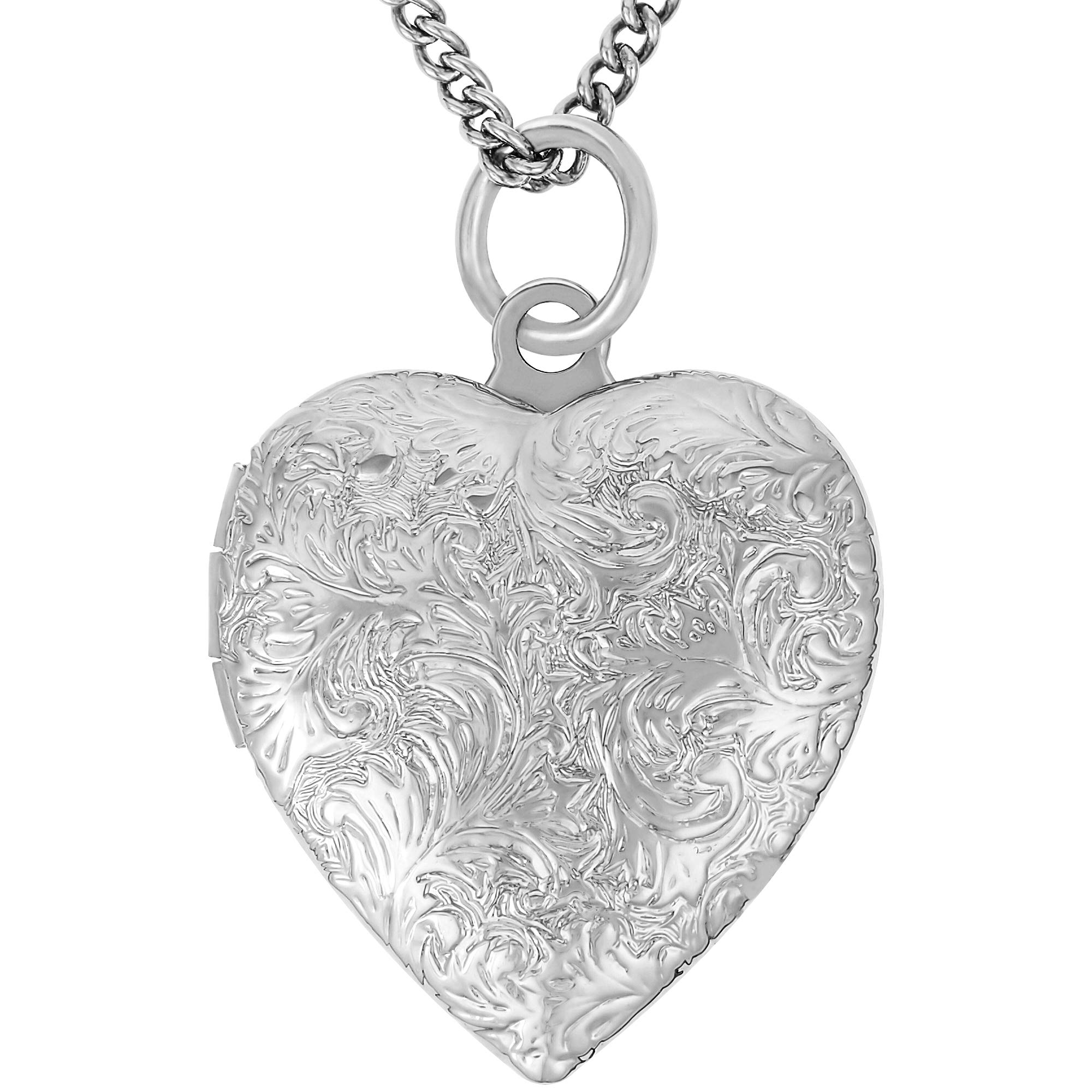 Lifetime Jewelry Heart Locket Necklace, Antique, 24K Gold Over Semi Precious Metals, Guaranteed for Life (Choice of Pendant with or Without Chain) (Rhodium Locket & Chain)