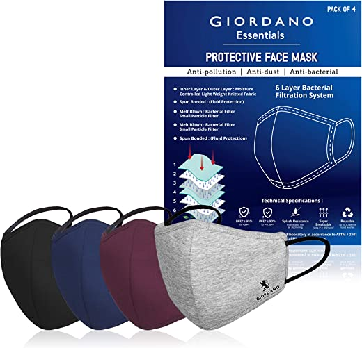 GIORDANO Cotton Anti Pollution 6 Layer Reusable Outdoor Face Mask...