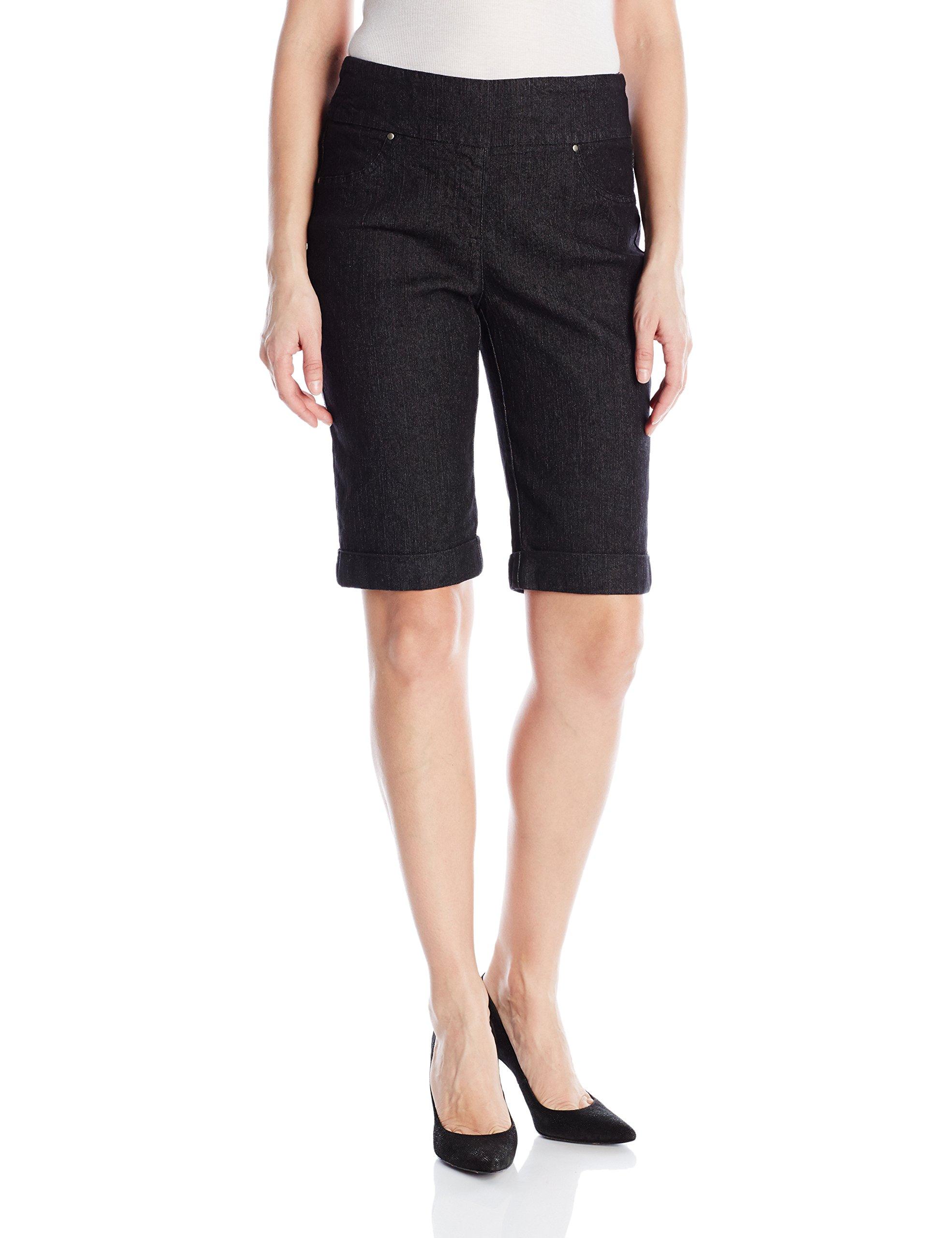 Ruby Rd. Women's Petite Pull-on Extra Stretch Cuffed Denim Short, Black, 16P
