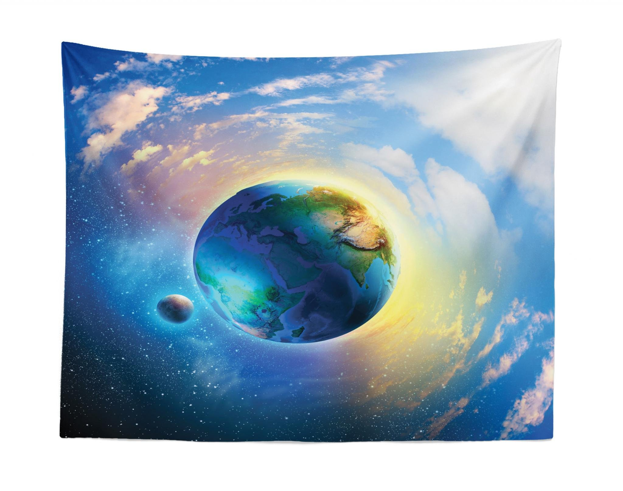 Lunarable Space Tapestry, Air View of Earth Atmospheric Circle with Orbit Spherical Solar System Artwork Print, Fabric Wall Hanging Decor for Bedroom Living Room Dorm, 28 W X 23 L inches, Blue White