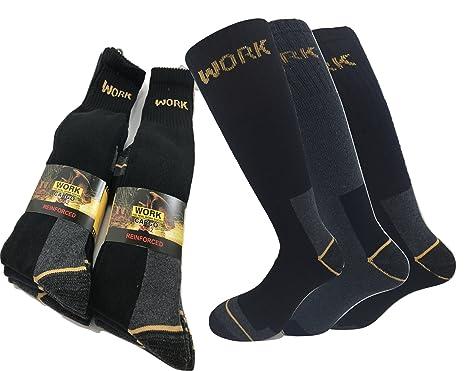 WORK PROTECTION 4 nero 4 blu 4 grigio. 12 paia di calze da lavoro professionali con rinforzo su punta e tallone e soletta interna in spugna