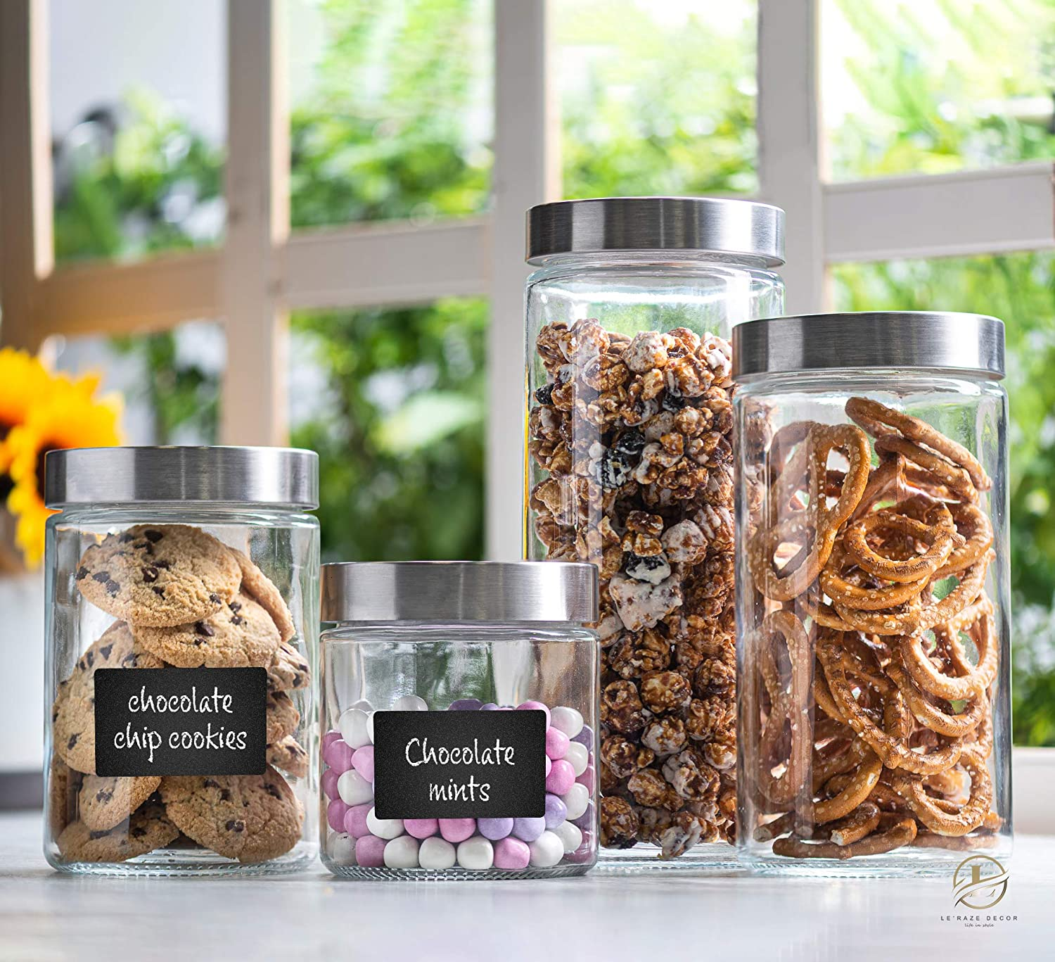 4pc Canister Sets for Kitchen Counter or Bathroom + Labels & Marker, Glass Cookie Jars with Airtight Lids - Food Storage Containers with Lids Airtight for Pantry - Flour, Sugar, Coffee, Cookies, etc.