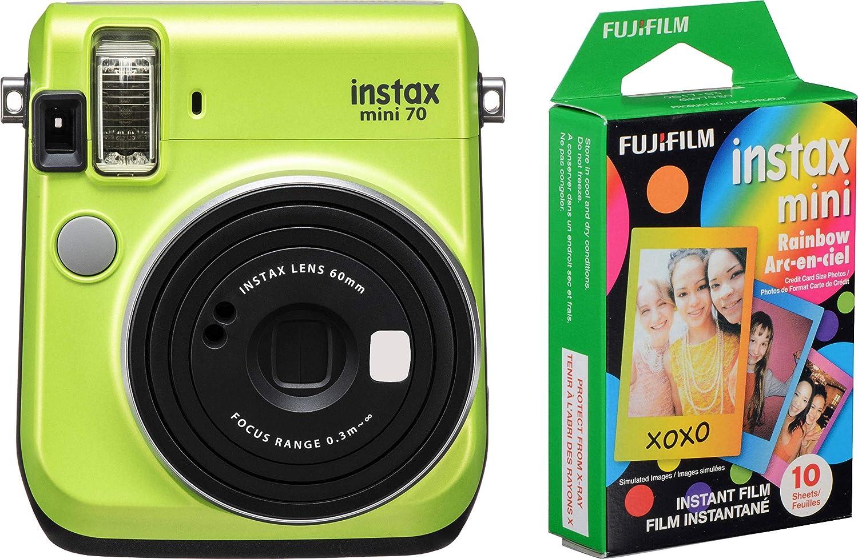 Fujifilm Instax Mini 70 – Cámara de película instantánea (Verde Kiwi) y Instax Mini Rainbow Film Value Pack – 10 imágenes: Amazon.es: Electrónica