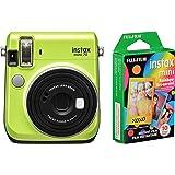 Fujifilm Instax Mini 70 Cámara de película instantánea (verde kiwi) e Instax Mini Rainbow Film Pack – 10 imágenes