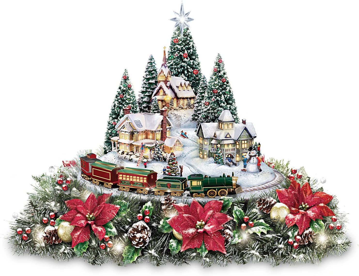Bradford Exchange Thomas Kinkade Christmas Village Floral Centerpiece with Lights Music and Motion