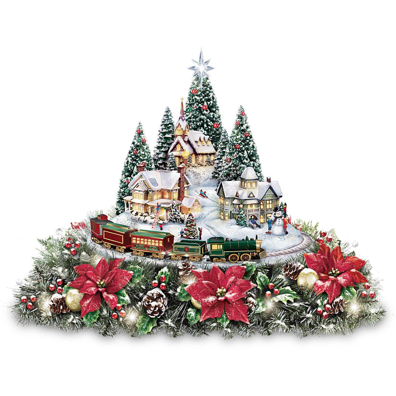 Amazon.com: Thomas Kinkade Christmas Village Floral Centerpiece with ...
