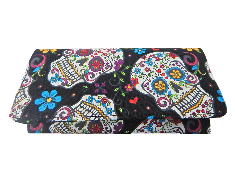 New WW 1047 USA Handmade Fashion Womens Wallet WithFOLKLORIC SUGAR SKULLS Pattern