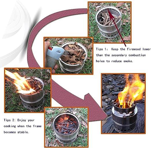 SOLEADER Hornillo Acampada Estufas de Camping Portatil Estufas de Leña Alcohol Carbón para Acampada Cocina Picnic Aire Libre BBQ