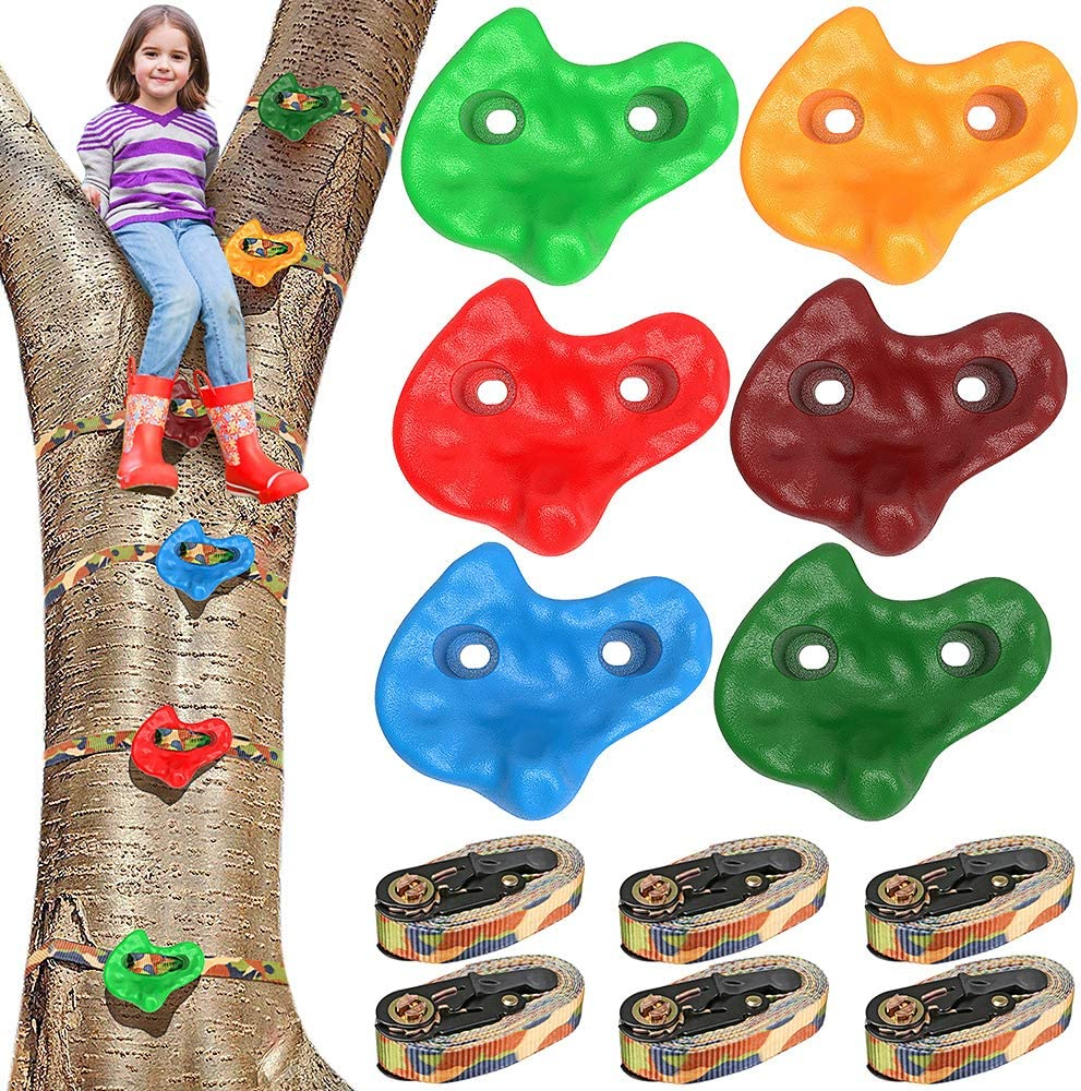 SELEWARE Gym Backyard Ninja Tree Climbers, 6 Rock Climbing Holds with 6 Sturdy Ratchets and Straps for Safety, Climbing Monkey Ninja Warrior Obstacle Course Slackline Training Equipment for Kid Adult