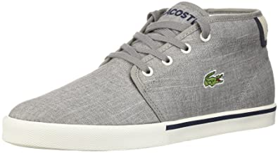 25c1a03bc Lacoste Ampthill 218 Grey White Canvas Mens Trainers  Amazon.co.uk ...