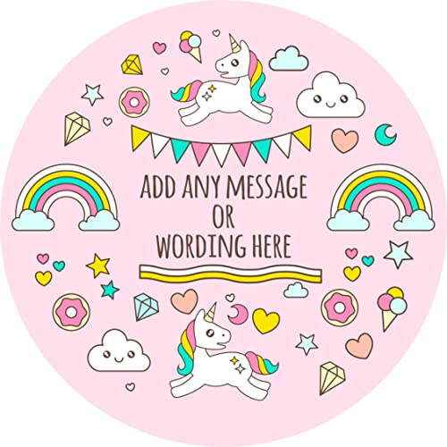 Unicorn rainbow magical sticker labels personalised seals ideal for party bags sweet cones favours