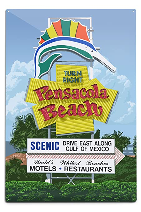 Amazoncom Lantern Press Pensacola Beach Florida Sign 12x18