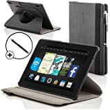 "ForeFront Cases® Kindle Fire HD 7"" Rotating Leather Case Cover / Stand with Magnetic Auto Sleep Wake Function WILL ONLY FIT Kindle Fire HD 7"" 2012 [PREVIOUS GENERATION] + Stylus Pen Worth £4.50"