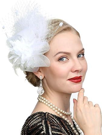 Ladies Hair Fascinator Hairclip Wedding Headpiece Veil Feather Hat Purple