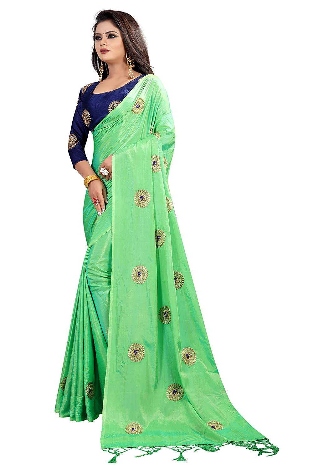 7ca8d504be720 Crazy Women s Paper Silk Saree with Blouse Piece (Green)  Amazon.in   Clothing   Accessories